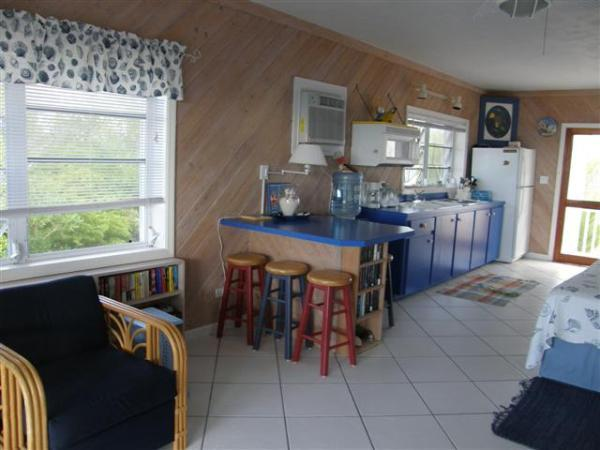 Kitchen area includes an bar, a counter and cabinets with a double sink, microwave and electric stove top.  There is also a full size refrigerator /freezer.   There are cooking utensils for cooking if you want to eat in.