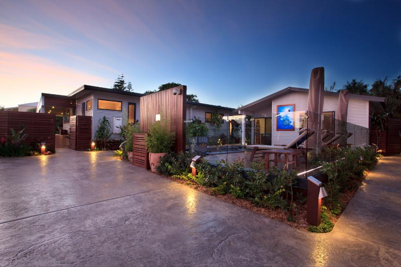 Outdoor courtyard at dusk