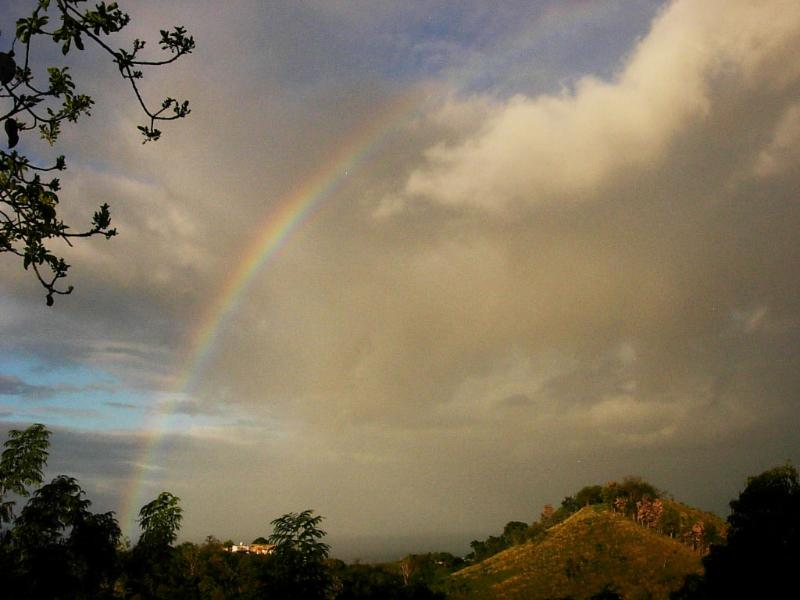 Rainbow and the mountain view from the terrace