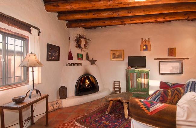 Historical adobe house with Kiva fireplace.