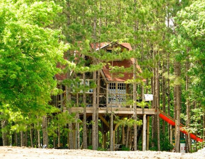 The treehouse has an adult sized SLIDE too !