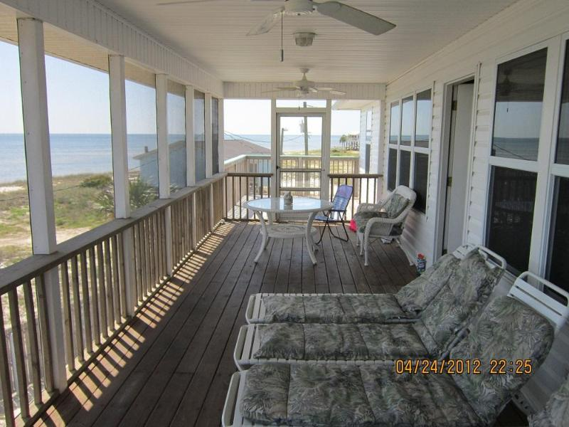 Front screen porch with two sun decks