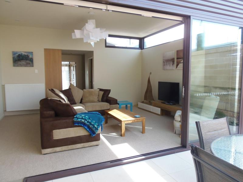 Living room opens to court yard
