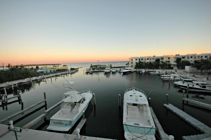 View of marina from patio at sunset