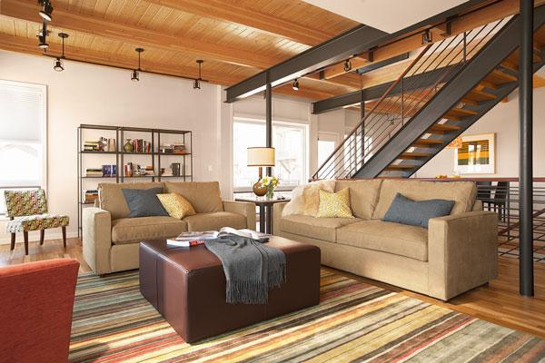 Stylish Living Area with Gas Fire, Queen Sleeper and Access to Deck & Hot Tub