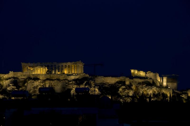 The view from the balcony of the whole Acropolis at night.