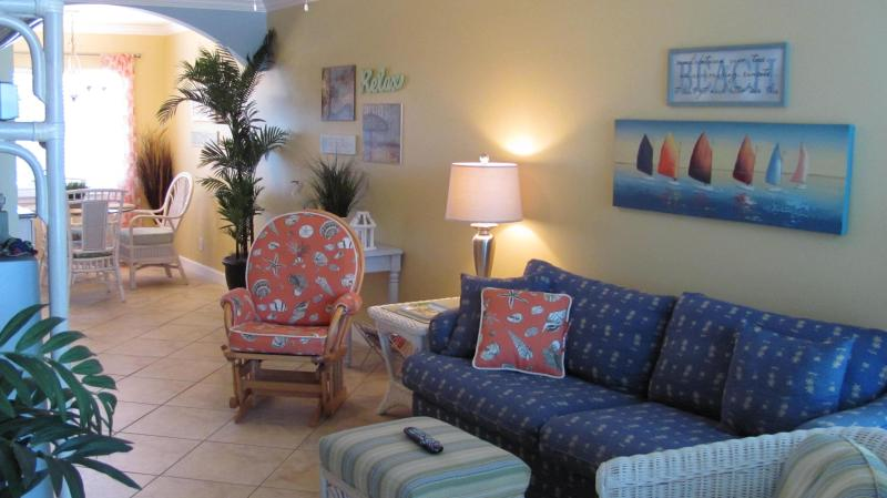 View of Living Room with pull out sofa from sunroom - Book Your Spring/Summer Vacation Now! - Indian Shores - rentals