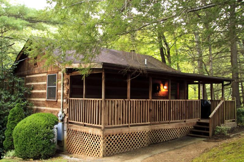 Cabin Exterior at Dusk - Bluff Haven -2 Bedroom  Log Cabin In Wears Valley - Pigeon Forge - rentals