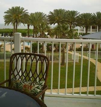 View from the patio overlooking pool and lazy river.