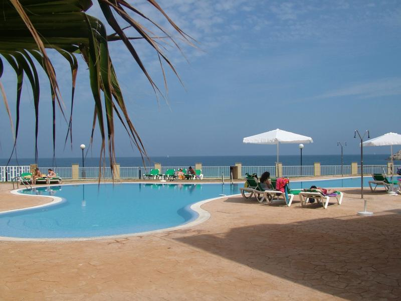On-site freeform pool, prime sea-front position, sunbeds and parasols