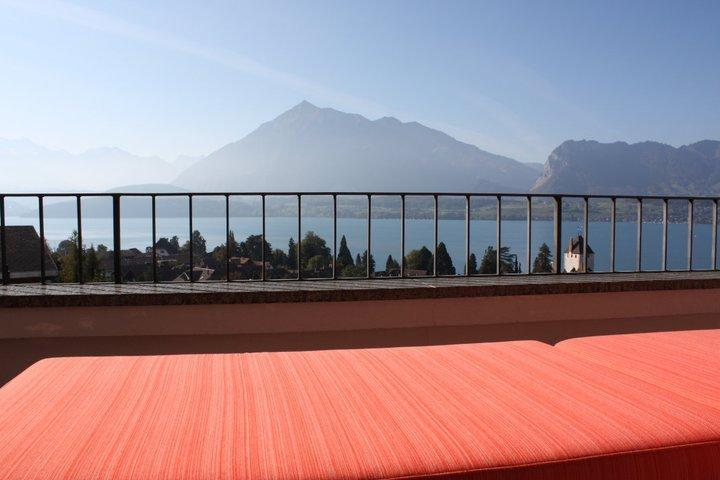 Best location on the South side of Lake Thun with stunning views over the Lake and the mountains.