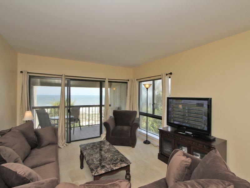 Living Room with Ocean Front Views at 474 Captains Walk