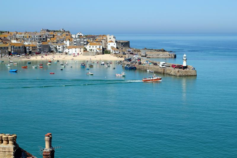 view of St.Ives as you approach the town, the cottage is in the middle