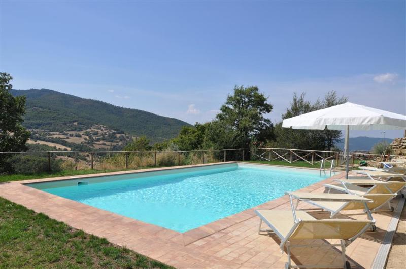 The private pool with extra large sun loungers is fully fenced and measure 6x12m