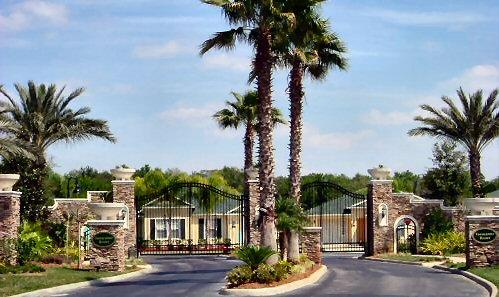 Gated Palm lined entrance