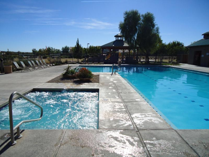 Nearby pool and hot tub