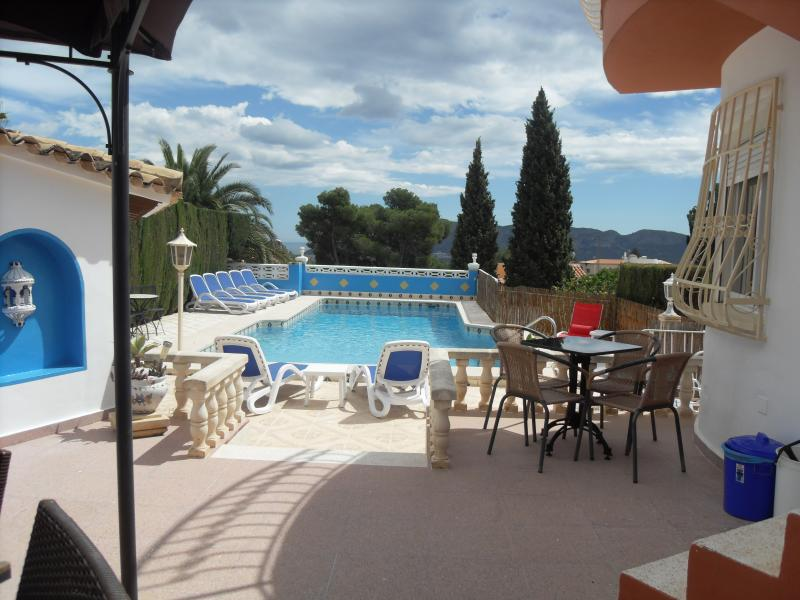 Relax around the pool, in or out of the sun there is a perfect place for everyone. Private & sec