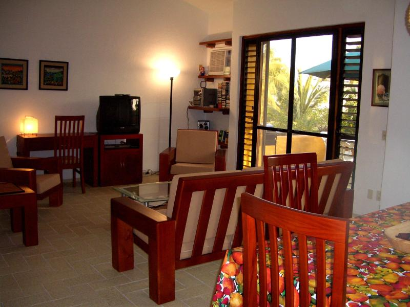 Living room with view to terrace - Lovely  2 Bdrm/2bath condo in Club Santiago - Manzanillo - rentals