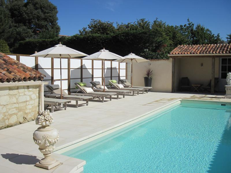 The lovely heated swimming pool at Manoir de Gourin