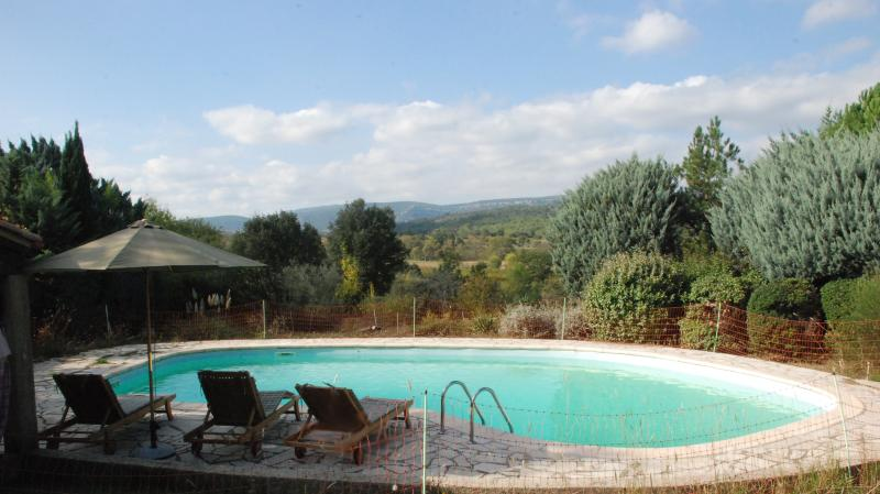 Private swimming pool with views over countryside