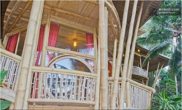 Stay in a luxury 4 storey family house, made entirely of bamboo, on the edge of a river valley.