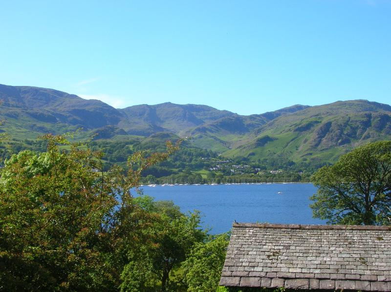 View over the lake to Coniston village from Brantwood