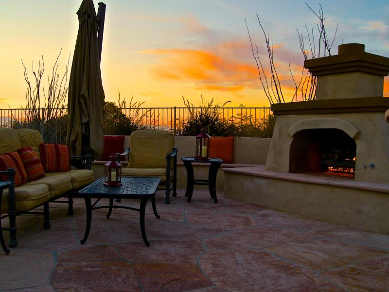 Outdoor Fireplace and sitting area