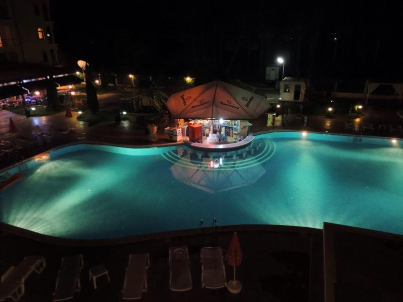 Pool at night from the balcony