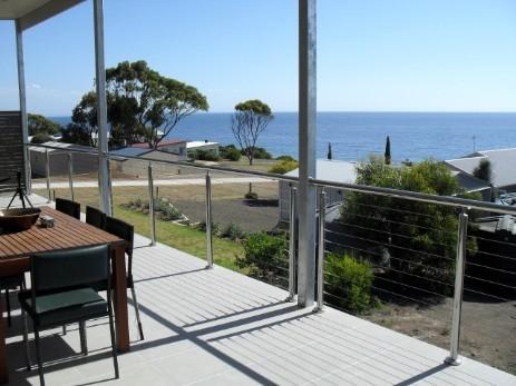 Emu Bay from the upstairs balcony. A perfect place for a coffee and a snack.