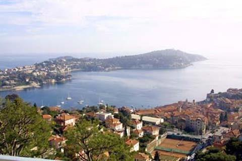 View from Terrace over Rade de Villefranche towards Beaulieu & St Jean Cap Ferrat