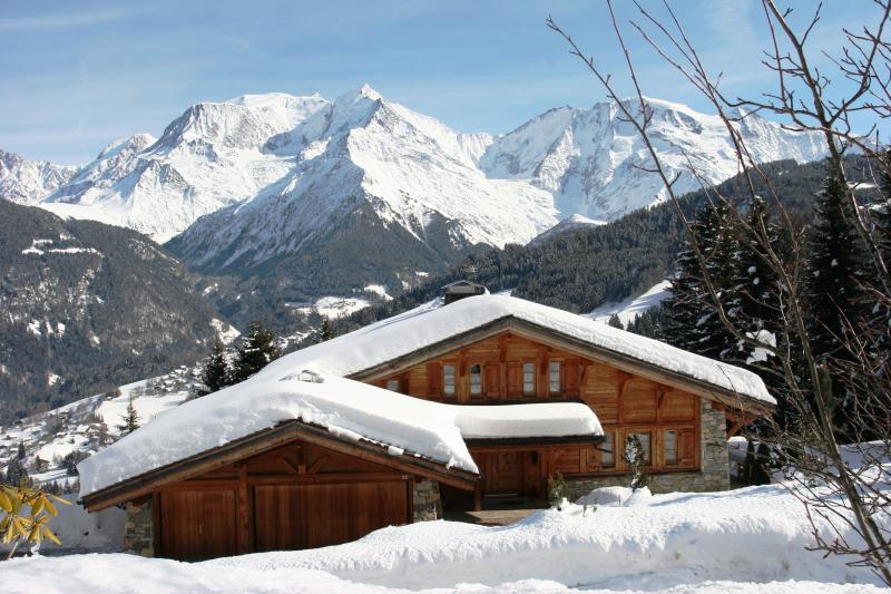The chalet in Winter  with Mont Blanc behind