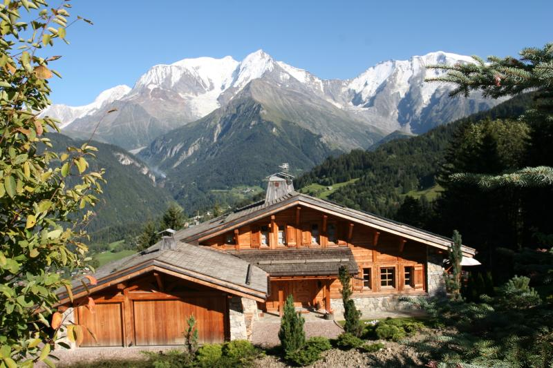The chalet in Summer with Mont Blanc behind