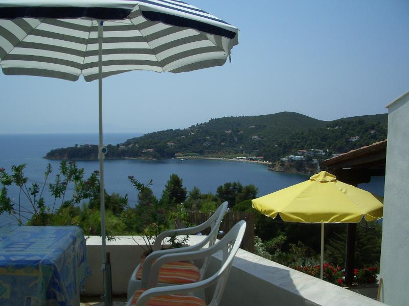 VIEW FROM DINING ROOM BALCONY OVERLOOKING SKILITHRI BAY