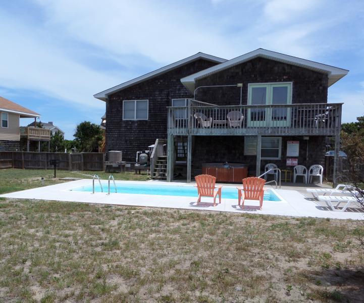 Rear House - Deck/Pool/Hot Tub. Sun Deck and large fenced yard. Pool open mid April to mid October