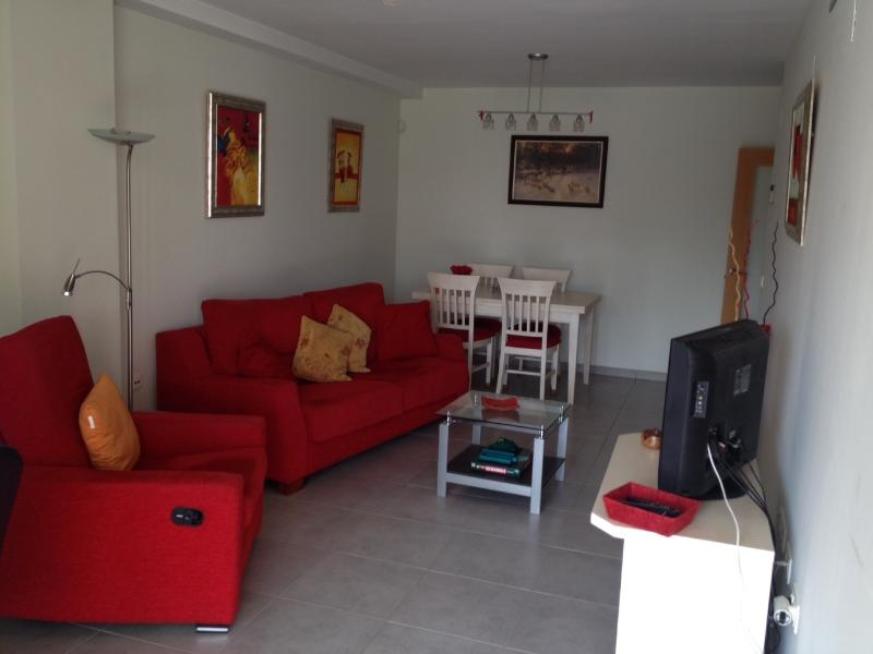 Lounge with TV, DVD, Dining Table, Desk and Sofa Bed