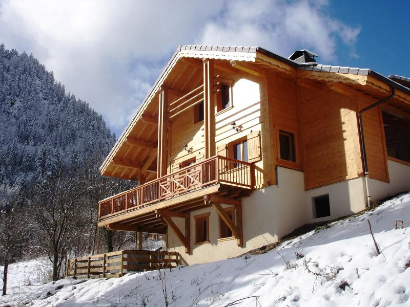Winter View of Back of Chalet Facing Valley