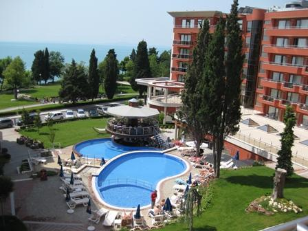Pool and terraced area against Black Sea backdrop