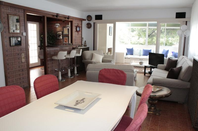 Dining area and salon, with closed terrace. All exterior