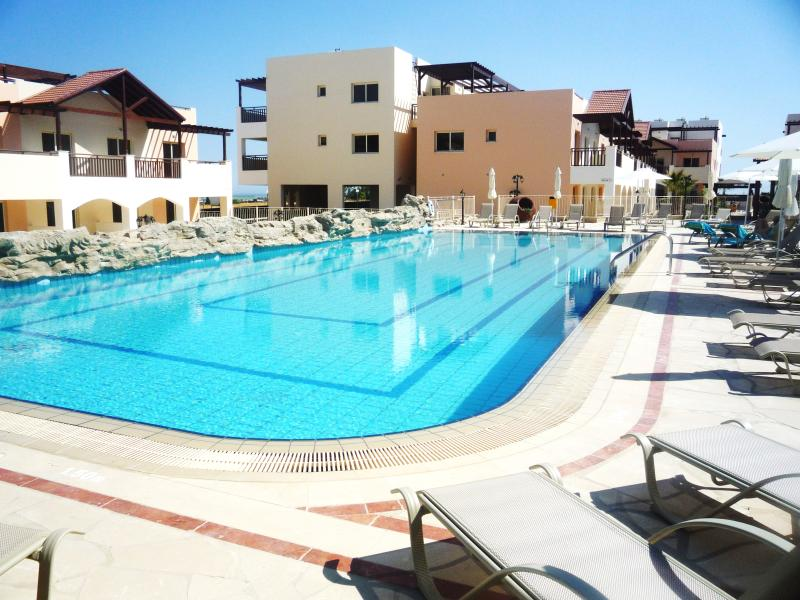 Large outdoor swimming pool with ample loungers and umbrellas