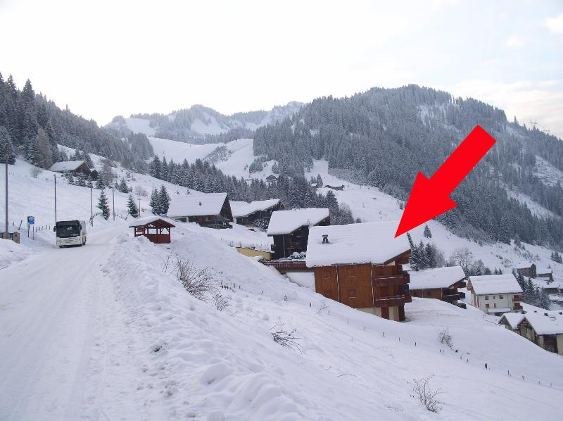 Side view with ski run behind and Ski Bus at stop