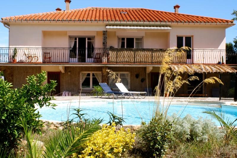 Large villa with south facing private garden and pool, 5 minutes walk from the centre of Sorede.