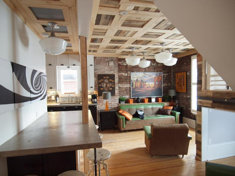 Recently renovated 2 bedroom, 2 bath, unique 'bedroom' underneath stairs + sofa converts i