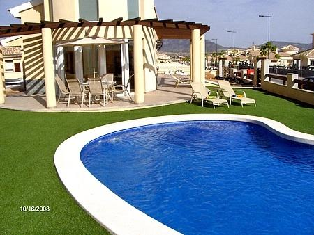 View from pool to villa terrace