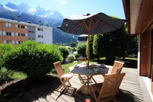 Private terrace and garden with views of Mont Blanc