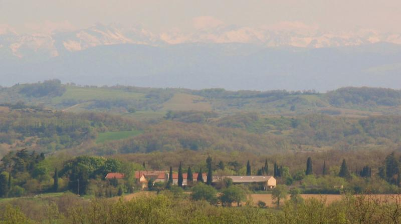 the estate from our land, with Pyrenees in the background