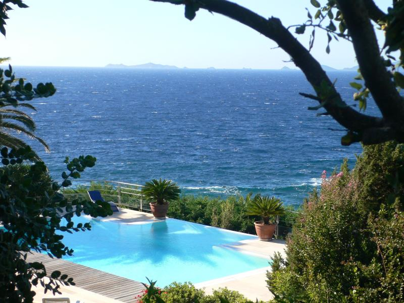 Plunging view on the pool and the bay from the garden