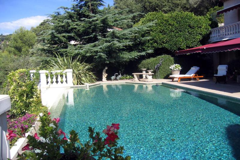 Beautiful elegant large heated swimming pool with infinity edge and diving board