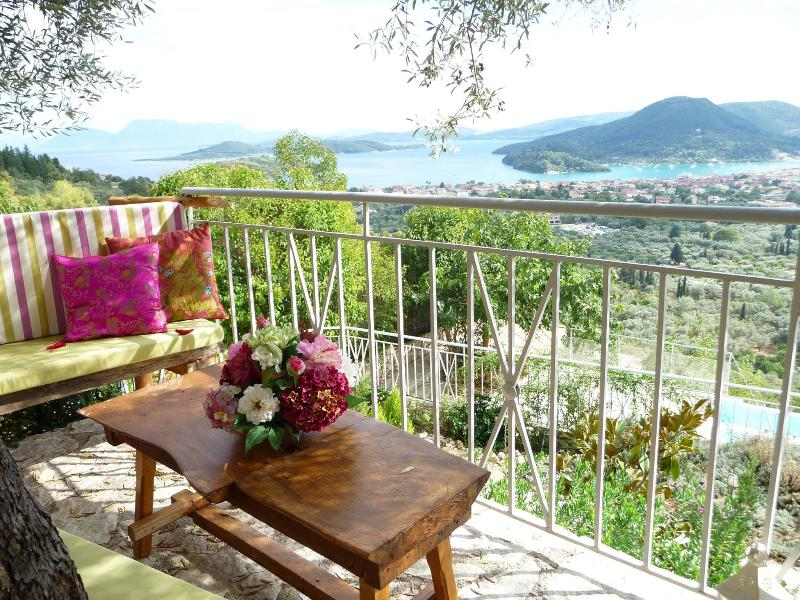 Villa Olive gazebo under the olive tree and the  views to the Ionian sea and Scorpios Island