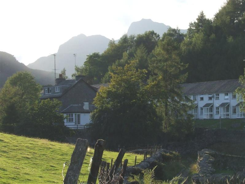 Langdale Pikes just showing behind our cottage