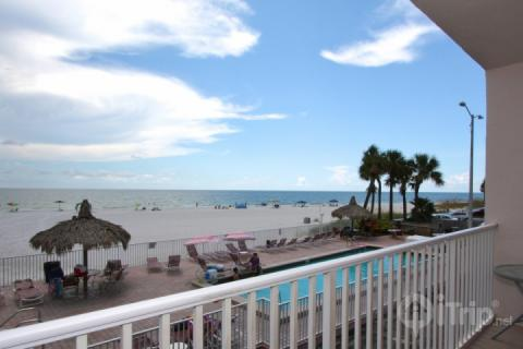 View from balcony overlooking the pool